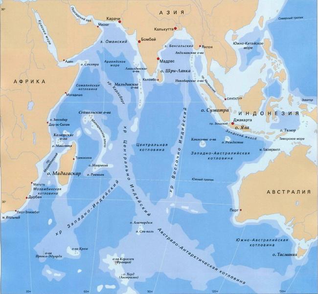 Индийский океан карта