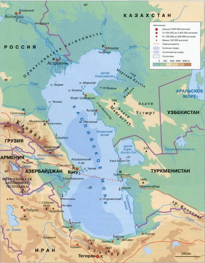 Карта каспийского моря